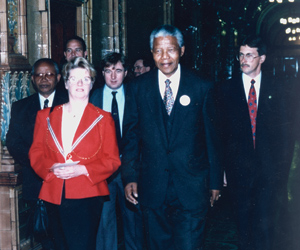 The then Council Leader Jean McFadden with Nelson Mandela in 1993
