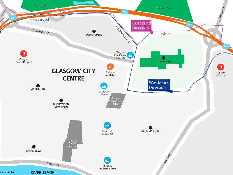 Diversions to allow installation of new bridge over M8 at Sighthill