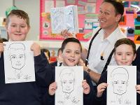 Pupils pictured with artist