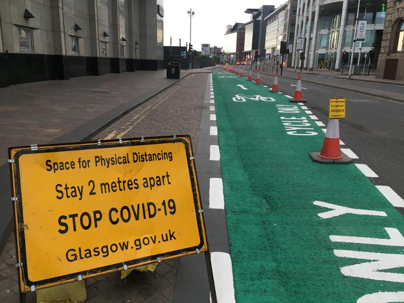 Clydeside pop-up cycle lane