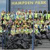 Group shot litter pick Hampden Park