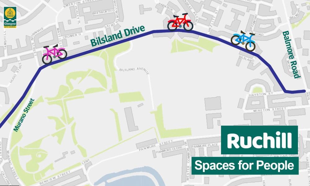 Bilsland Drive cycle lane graphic